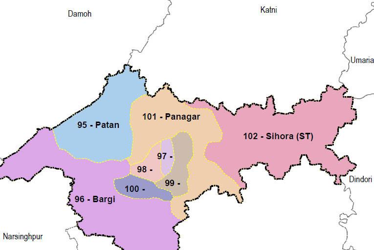 Jabalpur district wise constituency Madhya Pradesh Election 2018 map image मध्य प्रदेश चुनाव 2018