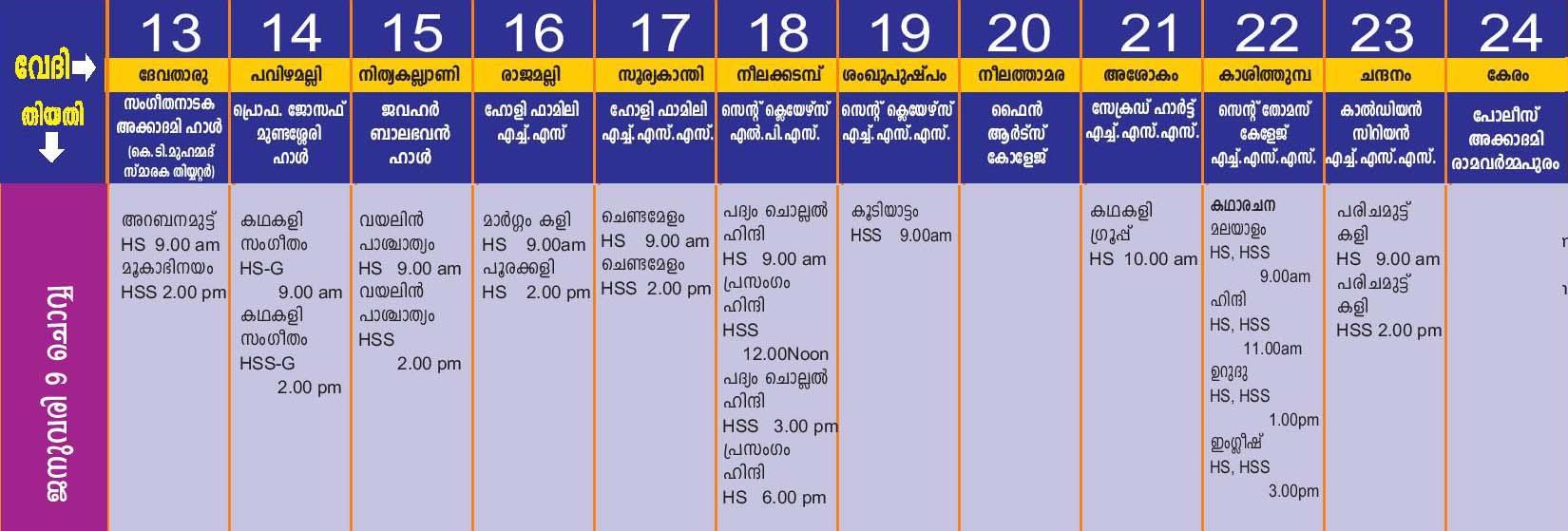 Kerala school kalolsavam 2018 Thrissur schedule programme chart 2 image