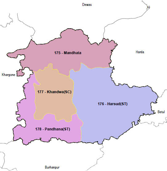 Khandwa district wise constituency Madhya Pradesh Election 2018 map image मध्य प्रदेश चुनाव 2018