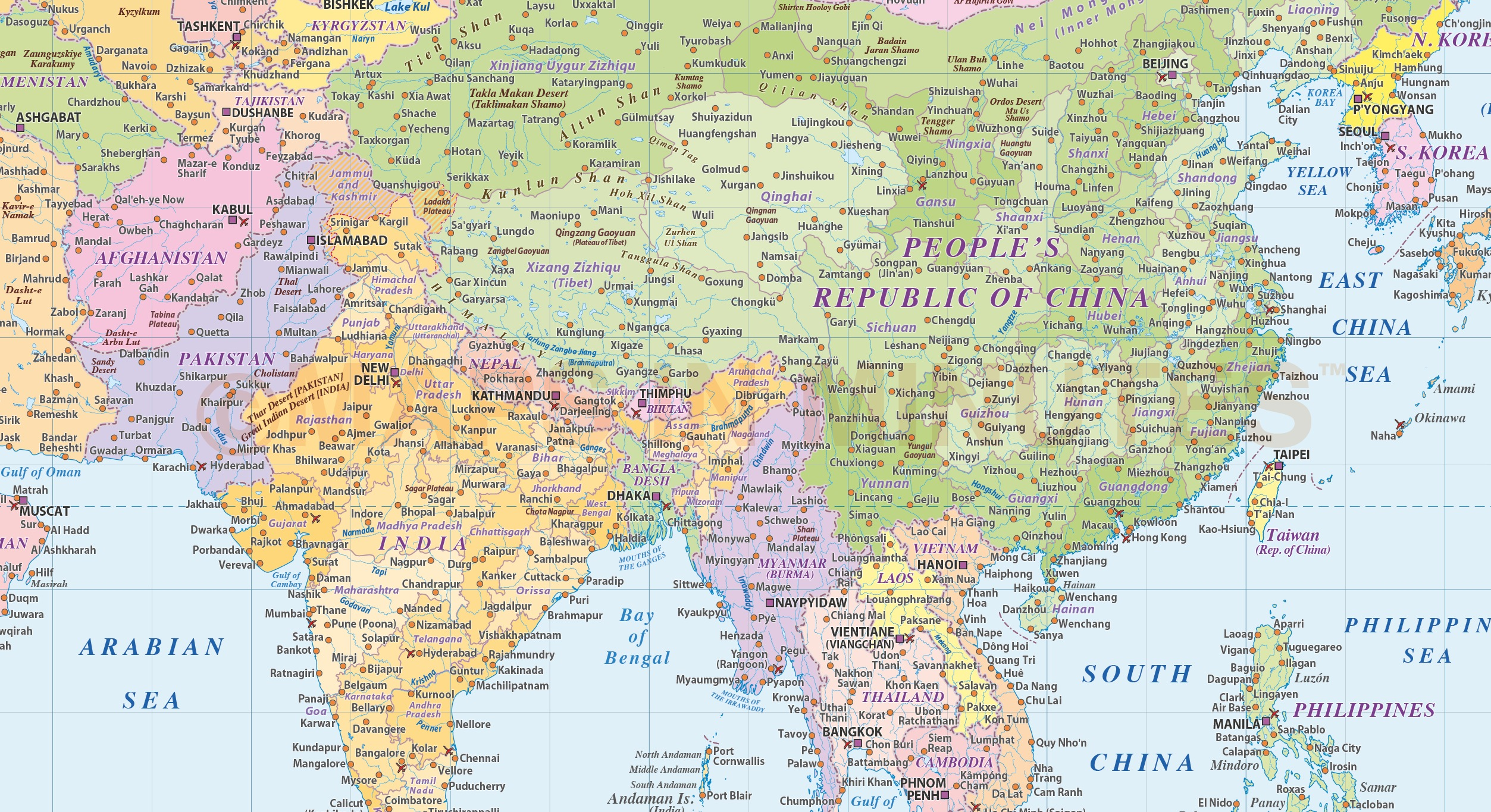 World map of asia free download borrow and streaming download 1 file gumiabroncs Image collections