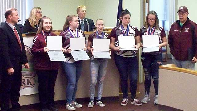 Newark Reds Girls Varsity Bowling Team, Trinity Wells recognized by Village Board