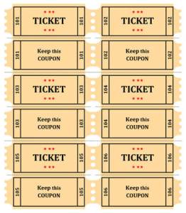 photograph relating to Printable Raffle Tickets With Numbers called No cost Printable Raffle Ticket Template Down load : Free of charge