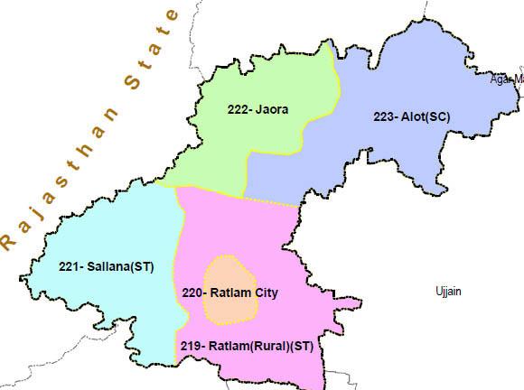 Ratlam district wise constituency Madhya Pradesh Election 2018 map image मध्य प्रदेश चुनाव 2018