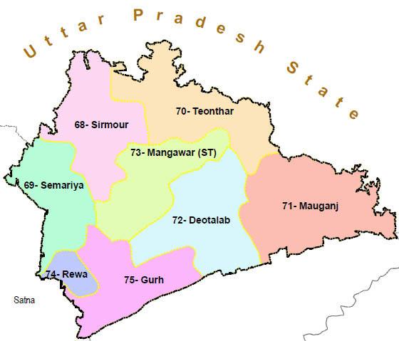 Rewa district wise constituency Madhya Pradesh Election 2018 map image मध्य प्रदेश चुनाव 2018