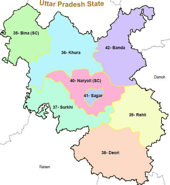 Sagar district wise constituency Madhya Pradesh Election 2018 map image मध्य प्रदेश चुनाव 2018