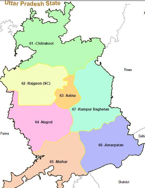 Satna district wise constituency Madhya Pradesh Election 2018 map image मध्य प्रदेश चुनाव 2018