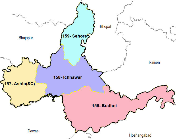 Sehore district wise constituency Madhya Pradesh Election 2018 map image मध्य प्रदेश चुनाव 2018