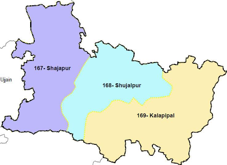 Shajapur district wise constituency Madhya Pradesh Election 2018 map image मध्य प्रदेश चुनाव 2018