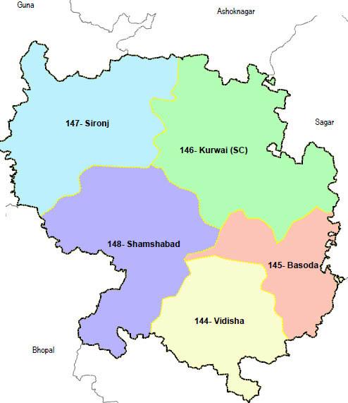 Vidisha district wise constituency Madhya Pradesh Election 2018 map image मध्य प्रदेश चुनाव 2018