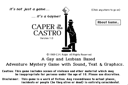 Caper in the Castro, the first known LGBTQ video game, available again  after 28 years | The Obscuritory