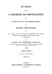 an essay on the principle of population or a view of its past  vol