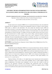 exploring the relationship between human resource International journal of human resource & industrial research, vol2, issue 7, sep, 2015, pp 01-12 issn: 2349 –3593 (online), issn: 2349 –4816 (print.