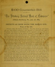 $100 Counterfeit Bill - The Pittsburg National Bank Of Commerce