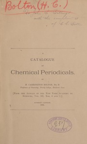A catalogue of chemical periodicals