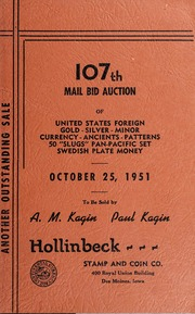 107th Mail Bid Auction of United States Foreign Gold, Silver, Minor Currency, Ancients, Patterns, 50 \Slugs\ Pan-Pacific Set, Swedish Plate Money