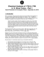 Chemical Analysis of 1794 & 1795 U. S. Silver Coins – Part 1