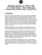 Chemical Analysis of 1794 & 1795 U. S. Silver Coins – Part 4