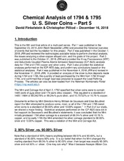 Chemical Analysis of 1794 & 1795 U.S. Silver Coins (Part 5)
