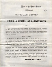 Circular Letter in Relation to American Medals and Cabinet Coins
