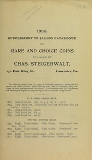 1896 Supplement to $15,000 Catalogue or Rare and Choice Coins ..., No. 55A