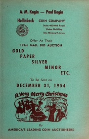 191st Mail Bid Auction: Gold, Paper, Silver, Minor, Etc.
