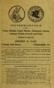 1928 Price List No. 55 of Coins, Medals, Paper Money.... [Fixed Price List]