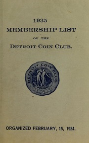 1935 Membership List of the Detroit Coin Club