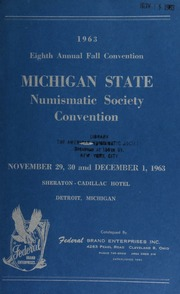 1963 eigth annual fall convention : Michigan state numismatic society convention. [11/29/1963]-[12/01/1963]