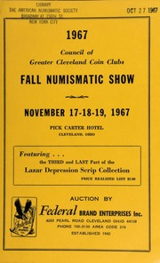 1967 council of greater Cleaveland coin clubs : fall numismatic show. [11/17-19/1967]