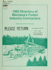Directory of Montana's forest industry contractors, '1985