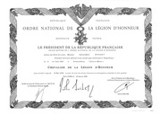 20080130 Certificate Of Ordre National De La Legion D Honneur