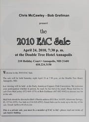 The 2010 EAC Convention Sale