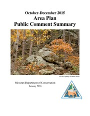 Area Plan Public Comment Summary October - December 2015