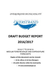 WC032 Overstrand Draft Budget 2016-17