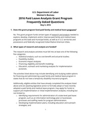 2016 Paid leave analysis grant program frequently asked questions
