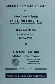 205th Mail Bid Sale: United States & Foreign Coins, Currency, Etc.