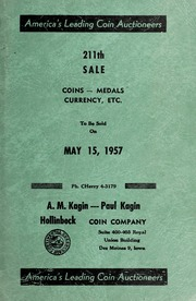 211th Sale: Coins, Medals, Currency, Etc.