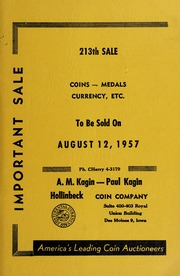 213th Sale: Coins, Medals, Currency, Etc.