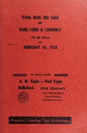 216th Mail Bid Sale of Rare Coins & Currency