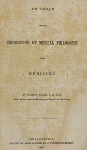 an essay on the philosophy of medical science bartlett elisha  an essay on the connection of mental philosophy medicine