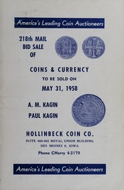 218th Mail Bid Sale of Coins & Currency