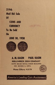 219th Mail Bid Sale of Coins and Currency