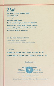 21st public and mail bid catalogue of choice and rare U.S. & foreign, coins & medals ... [06/02-03/1950]