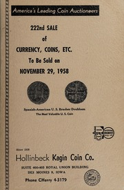 222nd Sale of Currency, Coins, Etc.