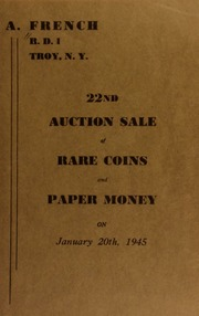 22nd auction sale of rare coins and paper money. [01/20/1945]