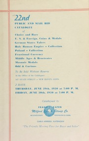 22nd public and mail bid catalogue of choice and rare U.S. & foreign, coins & medals ... [06/29/1950]