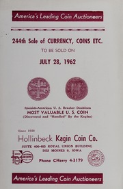 244th Sale of Currency, Coins, Etc.
