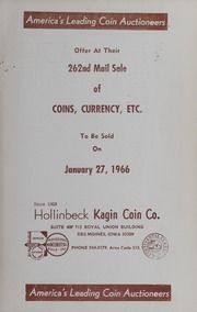 262nd Mail Sale of Coins, Currency, Etc.