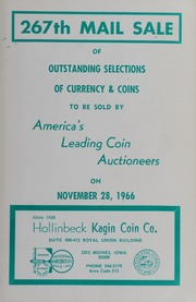 267th Mail Sale of Outstanding Selections of Currency & Coins