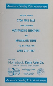 270th Mail Sale Containing Outstanding Selections of Numismatic Items